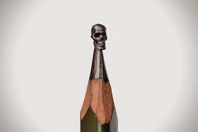 Micro Escultura calavera para graffiti en la punta de un lápiz