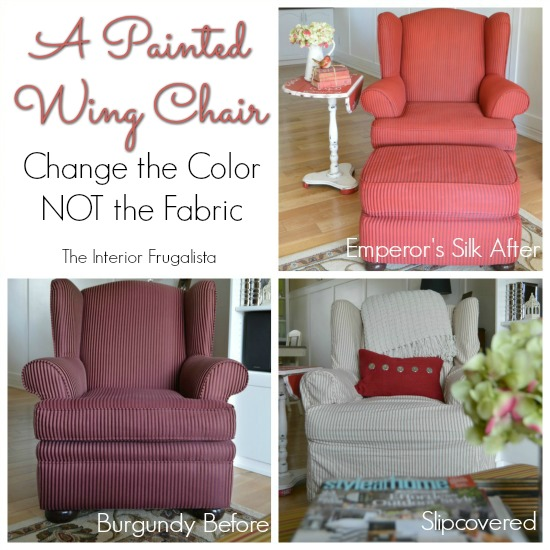 A Chalk Painted Wing Chair Before and After