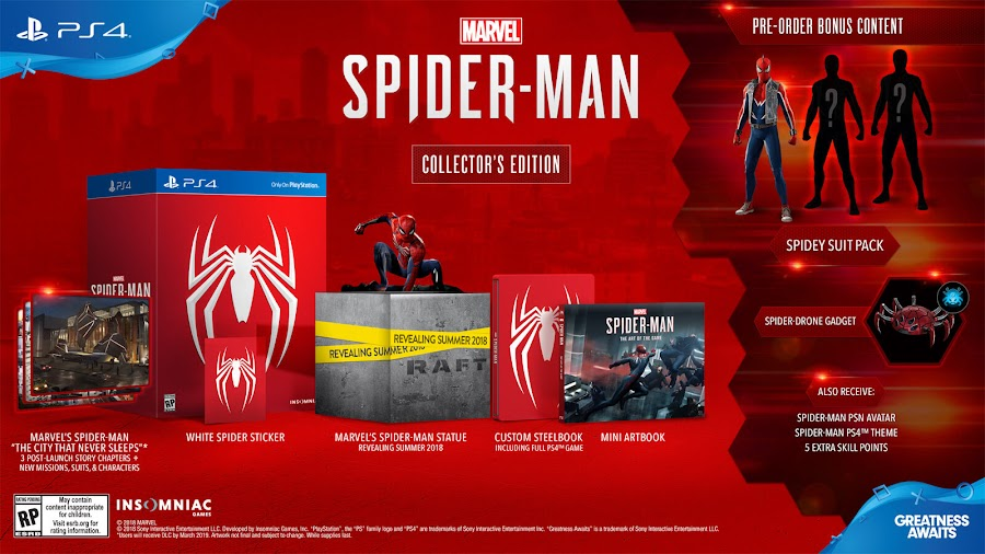 marvel's spider-man game ps4 collector's edition