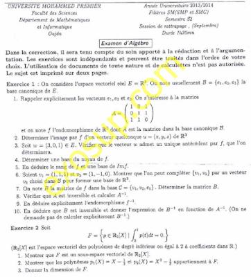 contrôles corrigés algèbre 2 SMPC S2 FSO