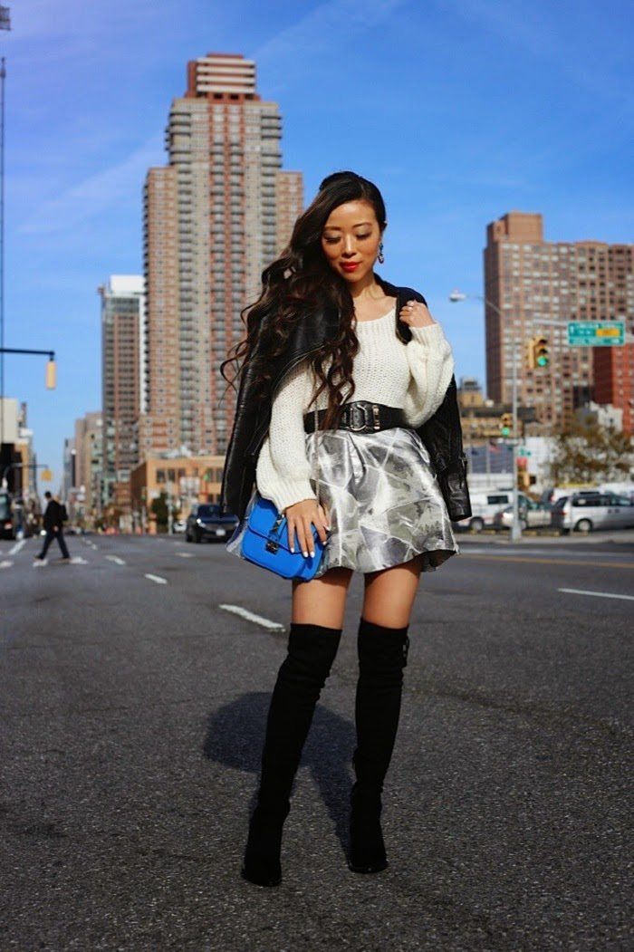 True Decadance skater mini skirt, steve madden peace love shea boots,baublebar pearl ring, babublebar cha cha drops earring, sweater, leather jacket, Valentino lockbag, holiday outfit ideas, datenight outfit, romantic, cute outfit, shallwesasa, new yorker, streetstyle,fashion blog