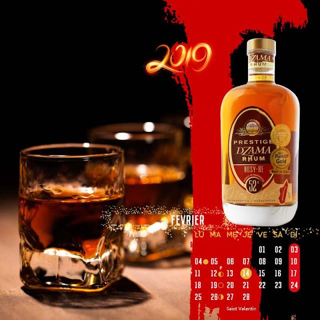 calendrier chevalet rhum ambré de Nosy Be Dzama Prestige, février