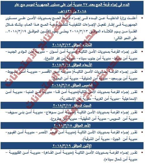 إجراء قرعة الحج فى مديريات الأمن بالمحافظات فى الفترة من 12 حتى 19 مارس 2018