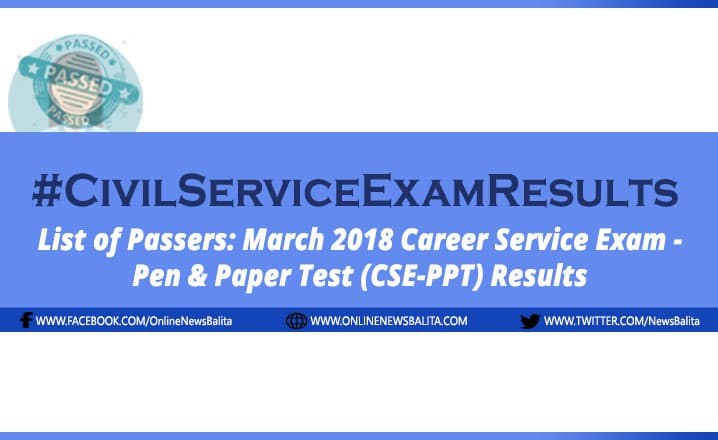 March 2018 Civil Service Exam Results CSE-PPT - Region 8