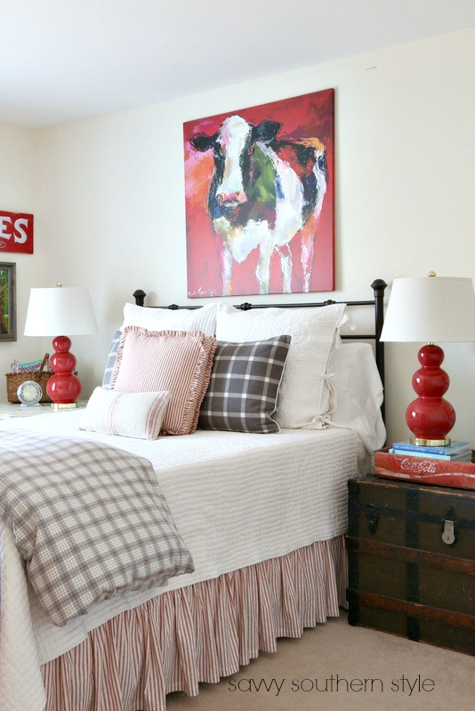 Savvy Southern Style Red And Gray Farmhouse Guestroom