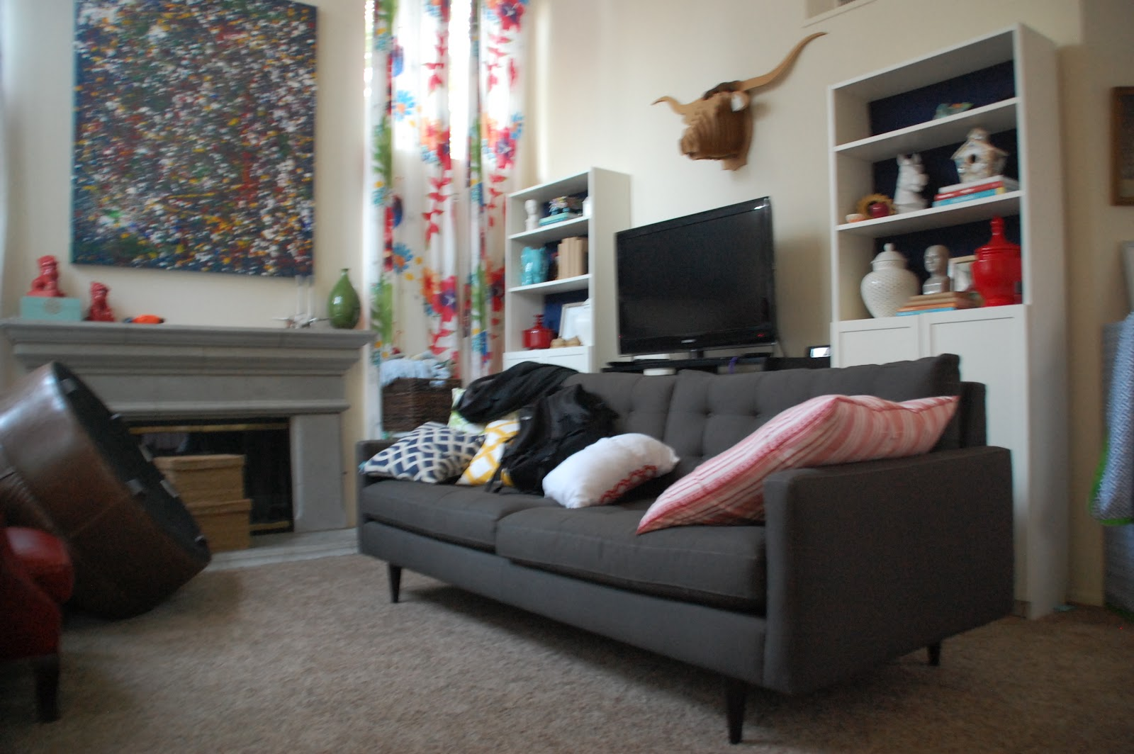 back of sofa facing fireplace cane antique lisa moves one room challenge week 6 part 1 furniture