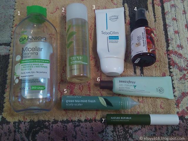 Garnier, The Face Shop, Sebocalm, Isvara Organics, Innisfree, Nature Republic