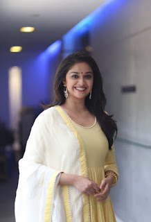 Keerthy Suresh in Yellow Dress with Cute and Awesome Lovely Smile at Press Meet 4