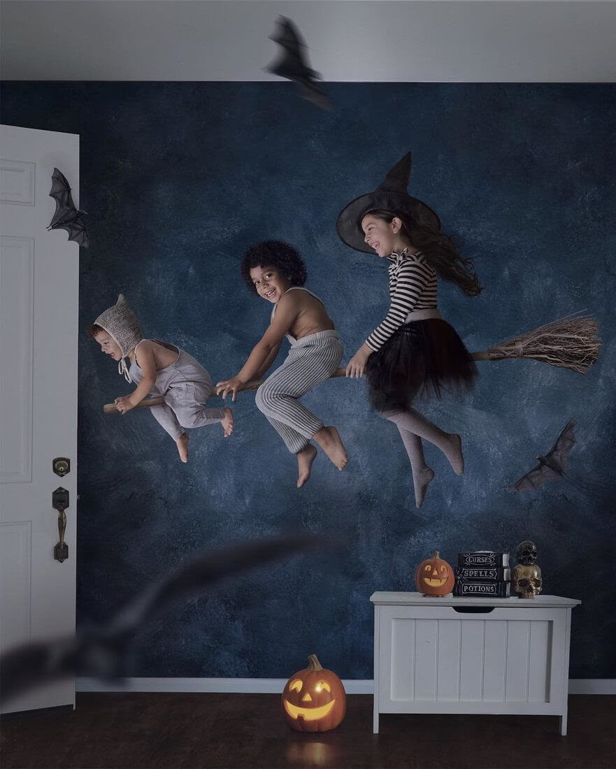 13-Flying-on-a-Broomstick-Vanessa-Family-Photos-Surreal-Worlds-www-designstack-co