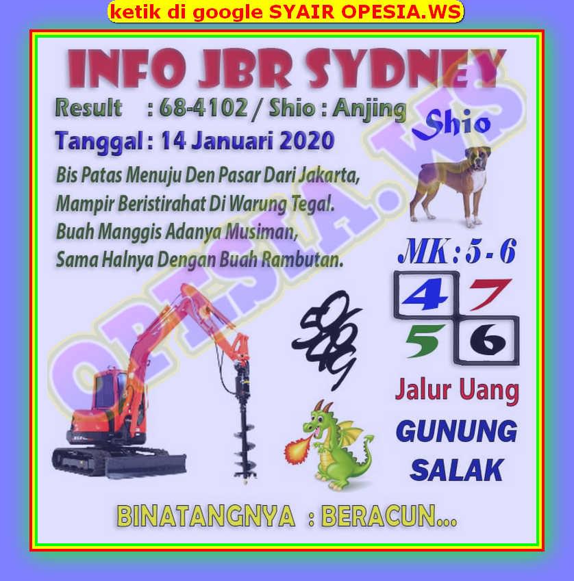 Kode syair Sydney Selasa 14 Januari 2020 3