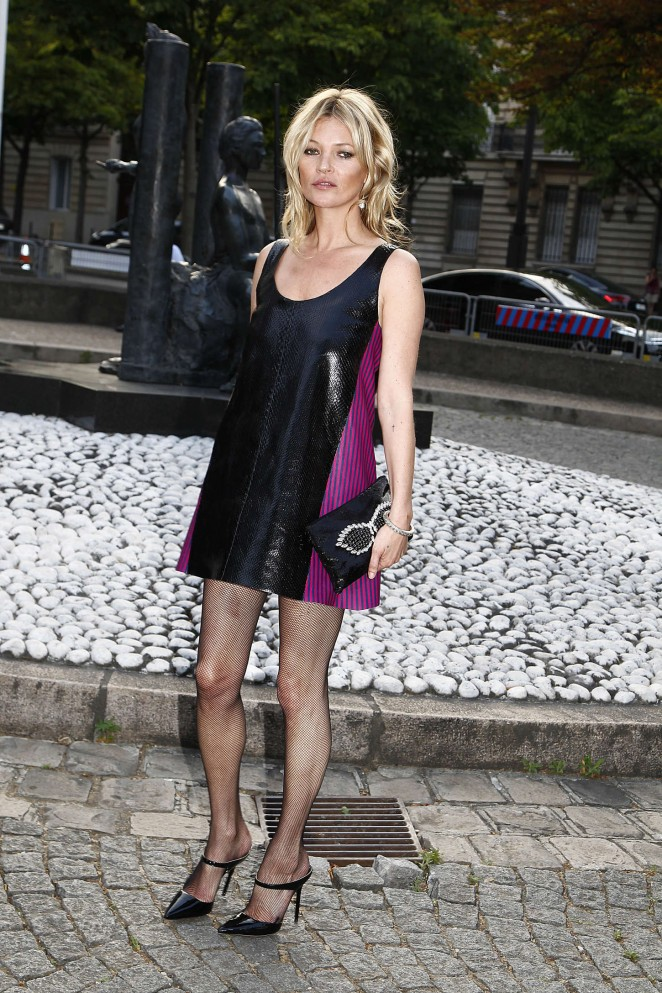 Kate Moss in a slinky short dress at the Miu Miu Fragrance and Croisiere Collection 2016 launch in Paris