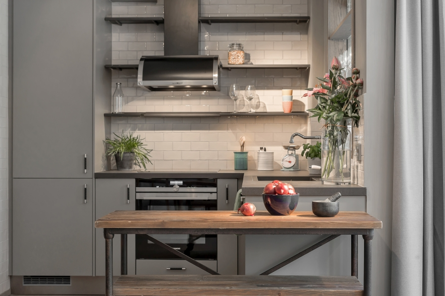 45 m² szarości, wystrój wnętrz, wnętrza, urządzanie mieszkania, dom, home decor, dekoracje, aranżacje, grey, szary, kawalerka, małe wnętrza, small interior, studio, loft