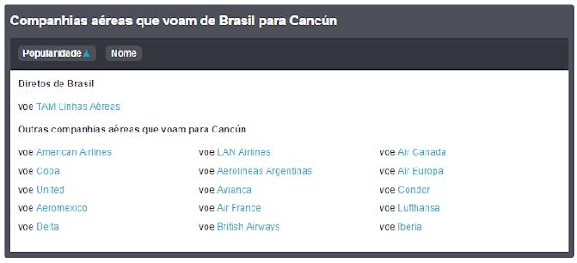 Companhias Aéreas que voam para Cancun