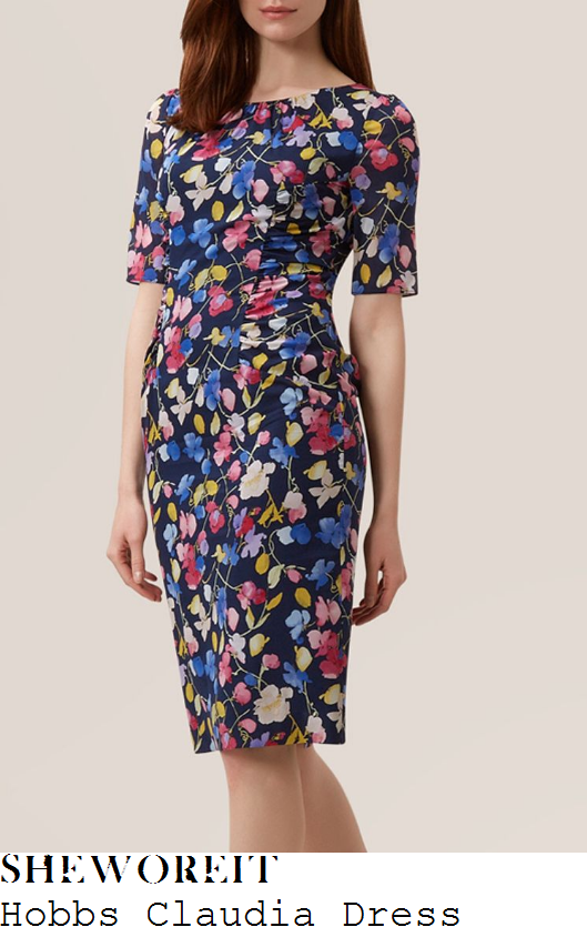 susanna-reid-hobbs-claudia-navy-pink-yellow-and-blue-watercolour-sweet-pea-floral-print-half-sleeve-gathered-seam-detail-silk-georgette-dress