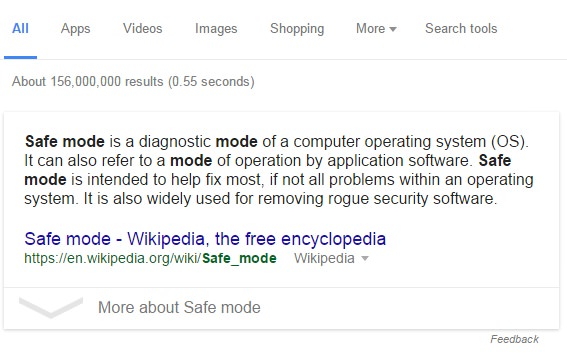 Safe mode definition from Google