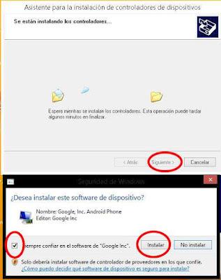 """Dos ventanas que muestran las instalacion de los drivers ADB, e indican marcar """"siempre confiar en el software..."""" y dar click en instalar"""""""