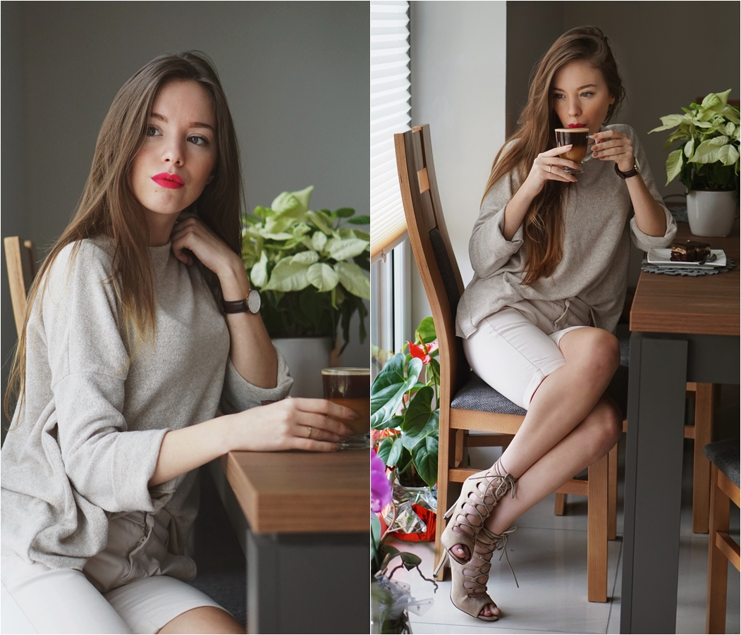 Beżowy total look