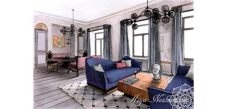Blue Room Presentation Drawing. Albert Hadley. | ห้อง ...  |Interior Design Color Sketches