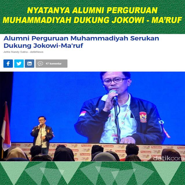 Alumni Perguruan Muhammadiyah Serukan Dukung Jokowi-Ma'ruf