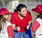 female coach with kids