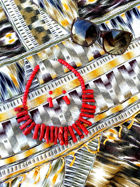 red coral necklace Gucci suglasses Joanna Joy A Stylish Love Story Blog petite fashion blogger lifestyle blogger Califoria fashion blogger boho chic global chic global fashion African inspired print scarf red beaded necklace