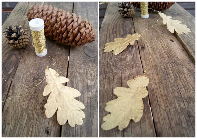 Kette aus vergoldeten Eichenblättern
