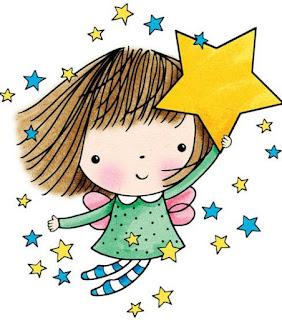 dibujo en color niña con estrella