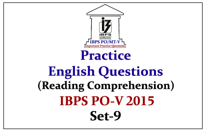IBPS PO Mains 2015 - Practice English Questions (Reading