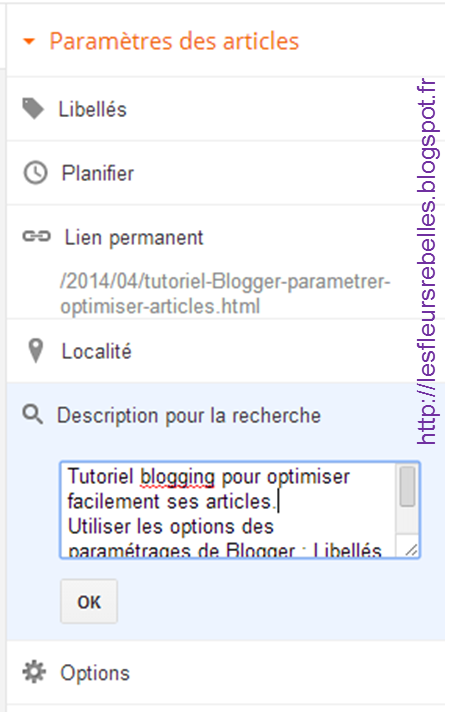 Tutoriel blogging Optimisation référencement options paramètres articles Blogger