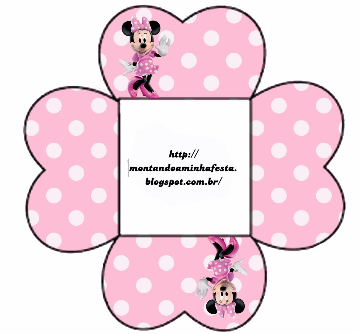 Caja Gratis de Minnie para pastelitos, chocolates o mazapanes.