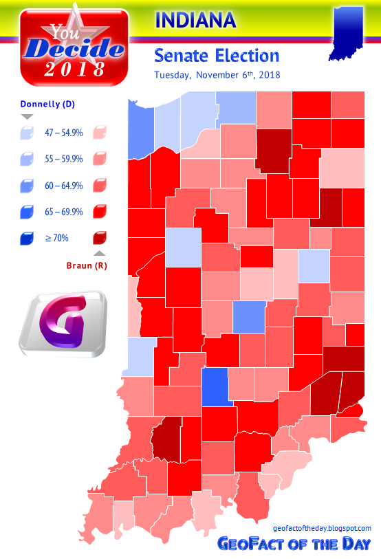 Map of the 2018 Indiana Senate election results by percentages in each county