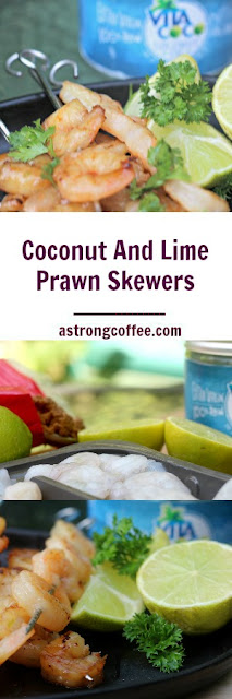 easy to make prawn skewers for a BBQ, using coconut oil and lime
