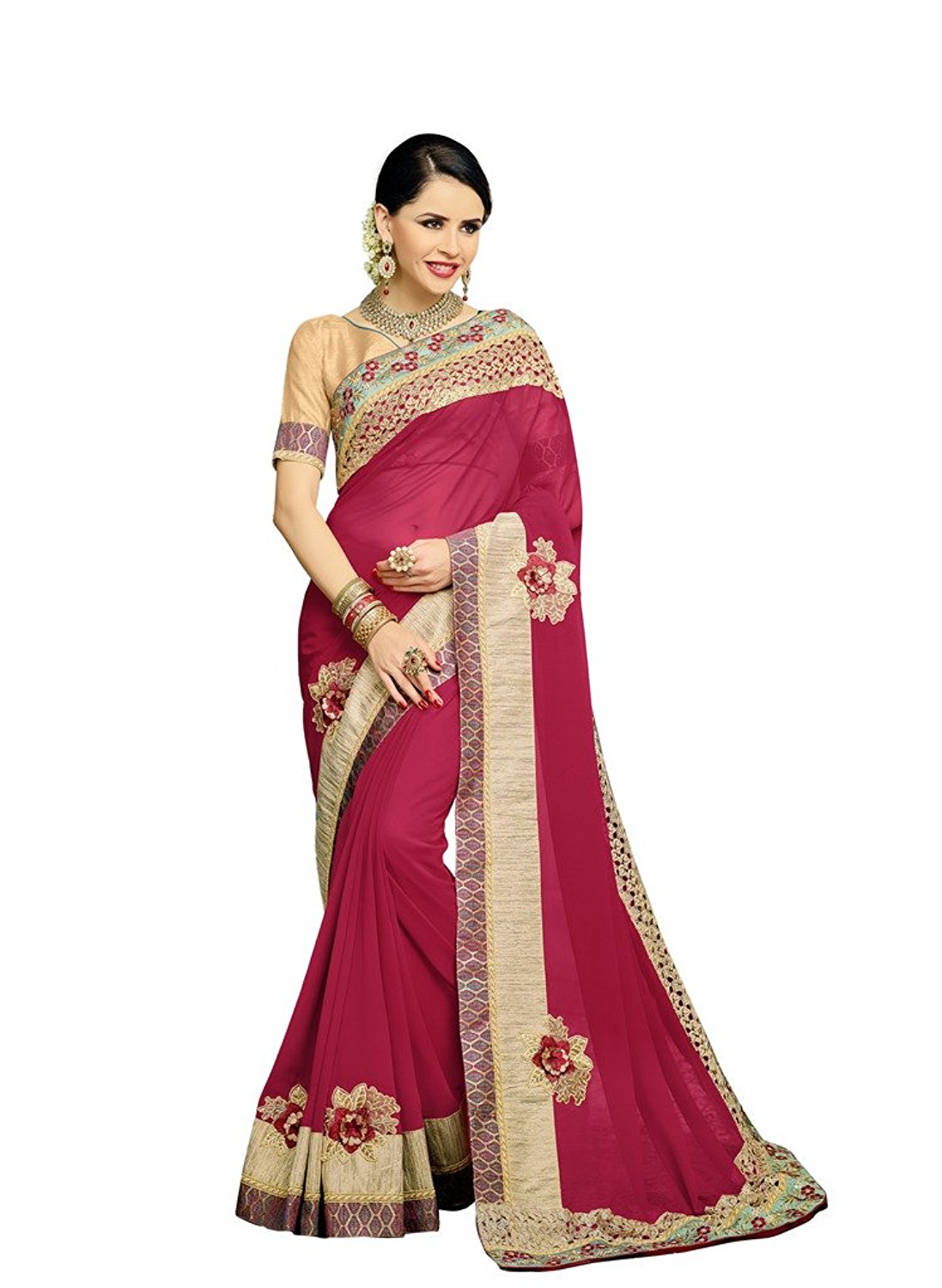 Bahubali Faux Georgette Red Saree