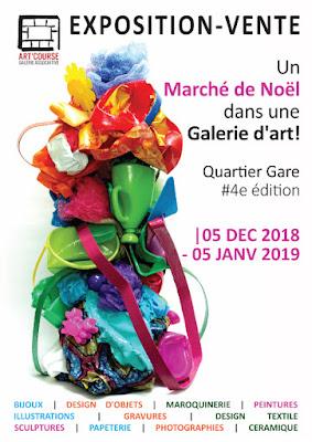 Flyer exposition-vente marché de Noël 2018 à Strasbourg Galerie Art'Course