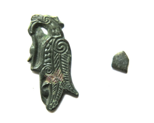 8th century Anglo-Saxon decorative copper bird discovered at Bamburgh Castle