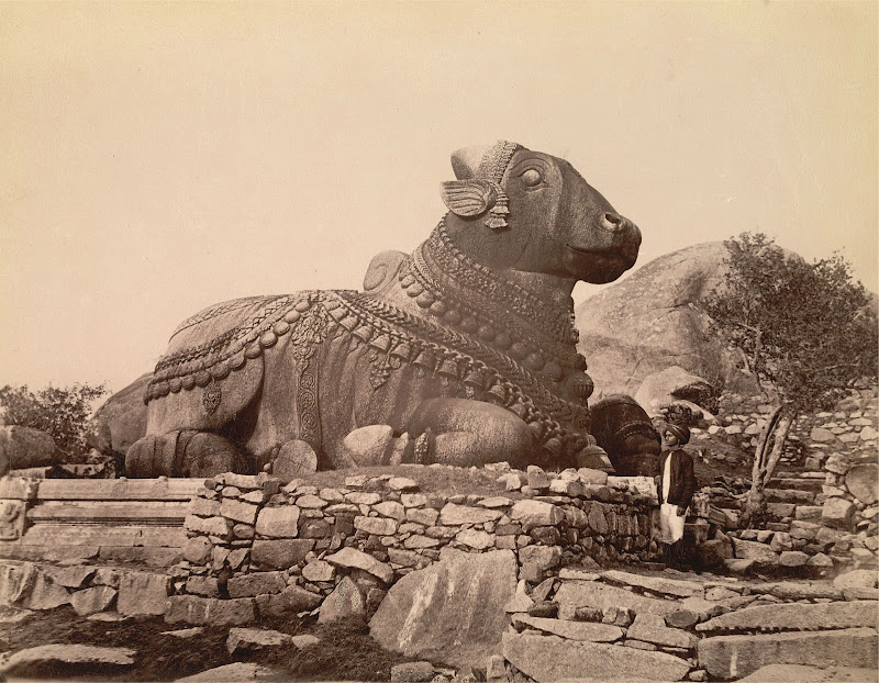 Nandi Sculpture on Chamundi Hill, Near Mysore, Karnataka - Circa 1895