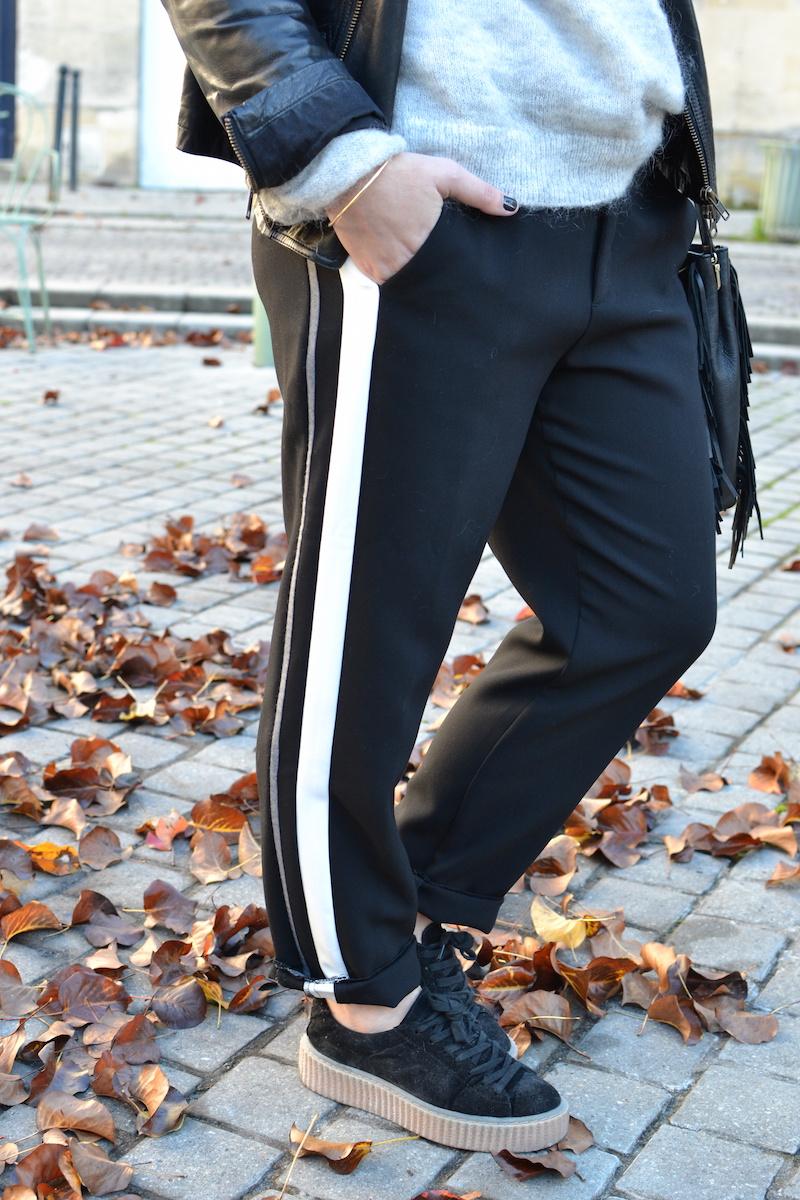 pantalon tailleur a bande blanche Zara