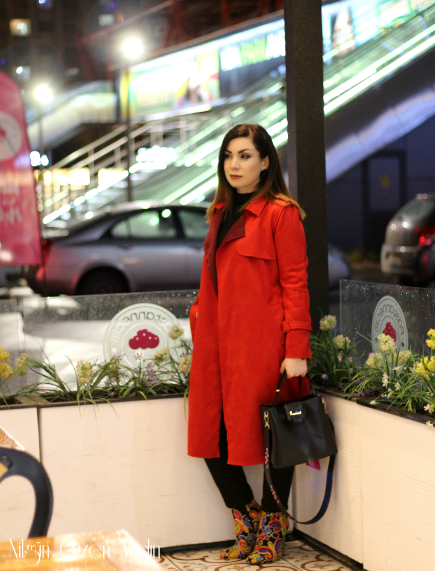 Kırmızı Süet Trençkot-fashion blogger-moda blogu