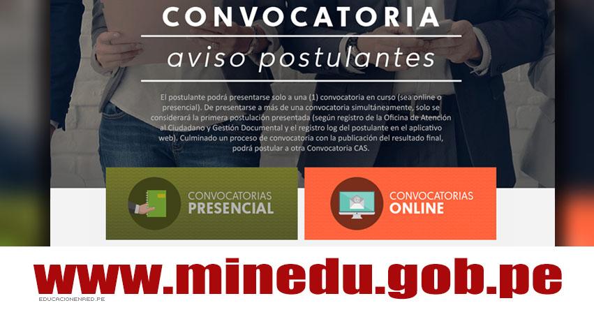 MINEDU: Convocatoria CAS Junio 2018 - Más de 100 Puestos de Trabajo en el Ministerio de Educación - www.minedu.gob.pe