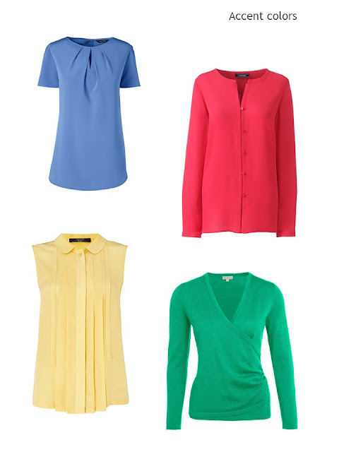 four accent color blouses and sweaters