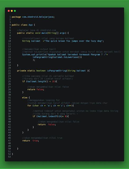 contoh code program cek menentukan memeriksa kalimat pangram atau tidak di java