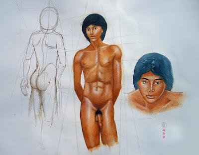 dessin,esquisse,aquarelle,garçon nu,juan,portrait,crayons