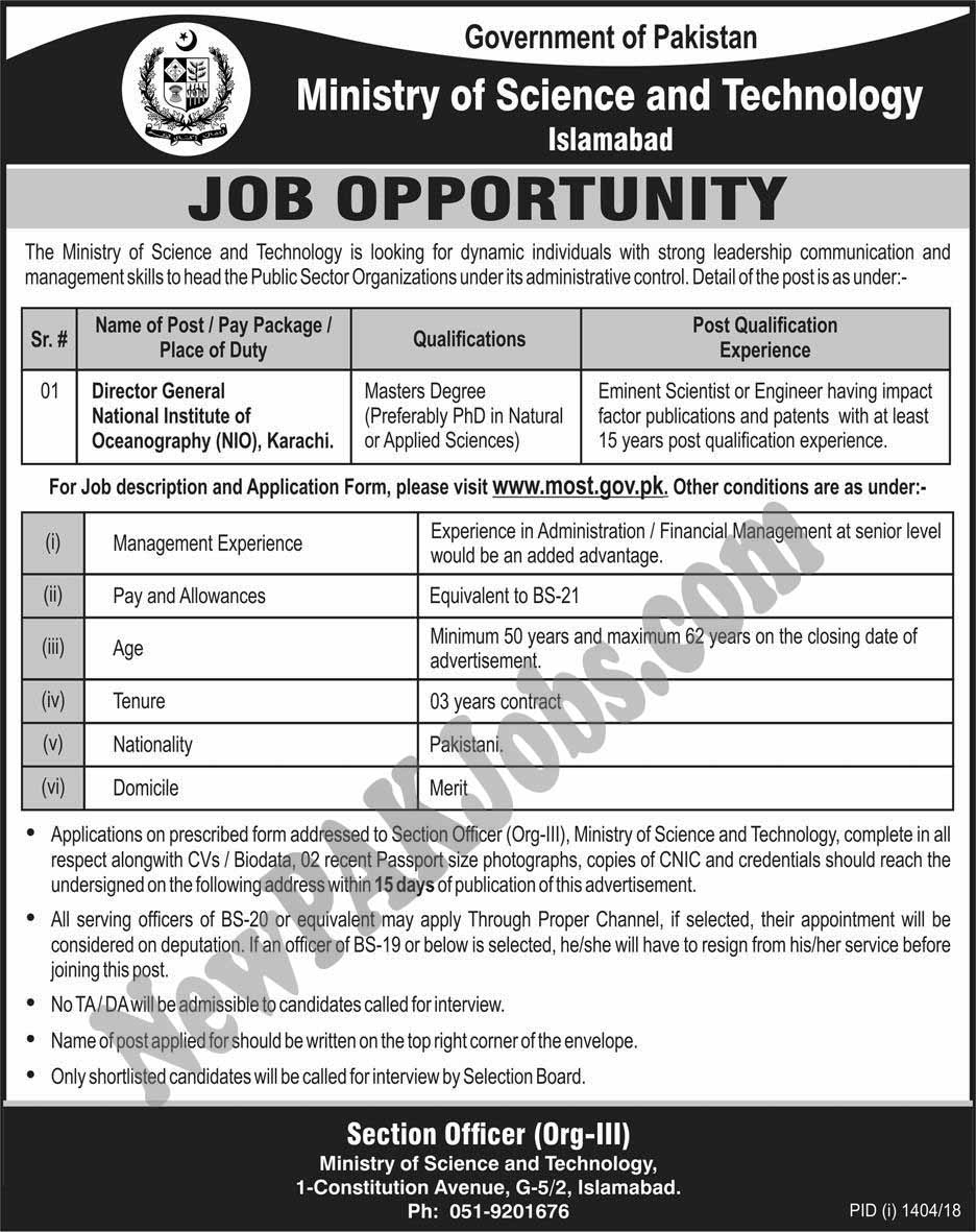 New-Govt-Jobs-in-Ministry-of-Science-and-Technology-Islamabad--www.most.gov.pk