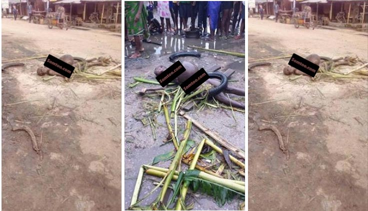 "Photos: ""Witch"" who went to steal pregnancy ""arrested"" by God in Delta State"
