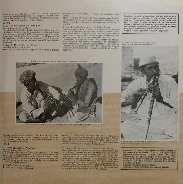 #India #Rajasthan #Rajasthani #flute #drone #traditional music #world music #Vinyl #Indian music #Geneviève Dournon-Taurelle #Le Chant du Monde