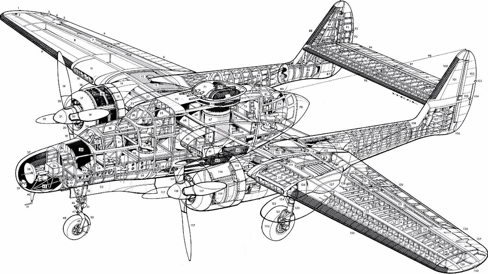 northrop p-61 black widow cutaway drawing