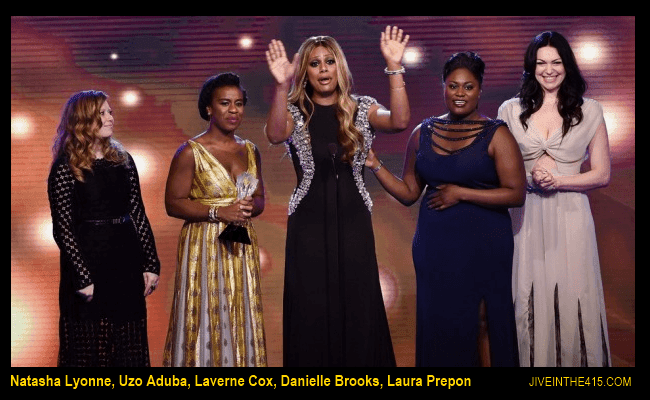 Orange Is The New Black cast members accepting the Best Comedy Series Award.