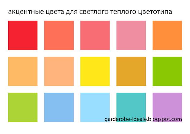 Акцентные цвета для светлого и теплого цветотипа