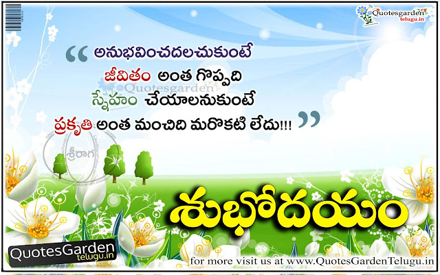 Good morning friendship Quotes in telugu with nature and flowers