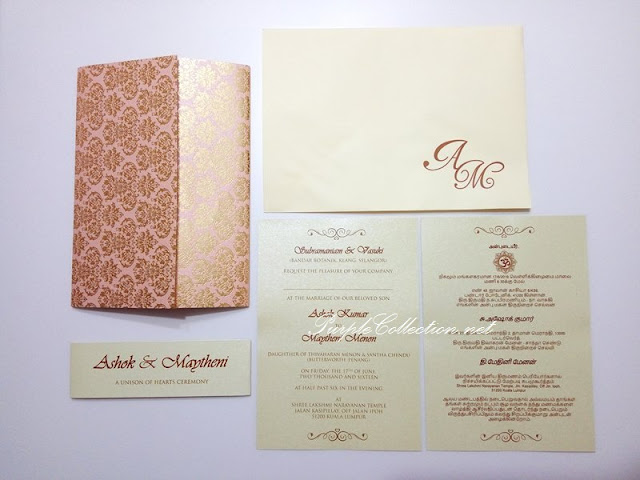 indian wedding invitation card, tamil, printing, kuala lumpur, online order, express, gold foil, customize, customise, custom made, design, handmade, hand crafted, modern, peonies, peony, damask pattern, a unison of hearts ceremony, western, christian, malaysia, australia, sabah, sarawak, johor bahru, singapore, penang, ipoh, perak, melaka, seremban, negeri sembilan, langkawi, pahang, bentong, kuantan, kota kinabalu, miri, bintulu, kuching, usa, canada, australia, melbourne, chinese, sydney, nsw, gold coast, special, bespoke, one of its kind, photo printing, silver stamping, elegant, anniversary, birthday, strap, pocket, die cut, inserts, envelope, monogram printing, sleeve, pearl gold, peach, beige, dark brown, ganesha logo